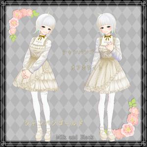 【無料版あり】アシンメトリーゴシックドレス(白)【VRoid】