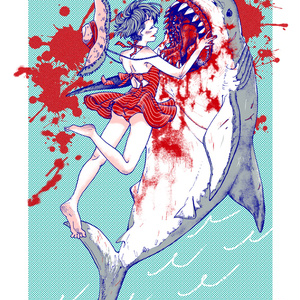 サメと女の子Tシャツ