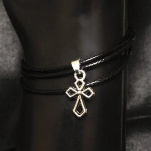 レザーブレスレット/十字架.蜘蛛