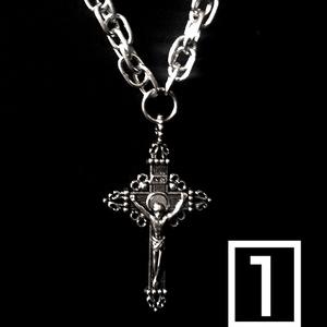 2連ロングネックレス/十字架.クロウスカル