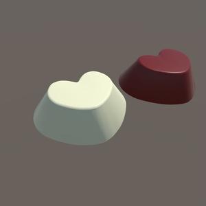 3Dモデル ハート型チョコレート&ホワイトチョコ