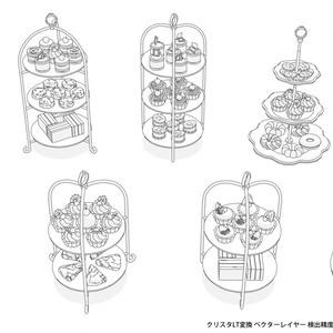 珈琲/紅茶/緑茶/菓子3D素材257点セット
