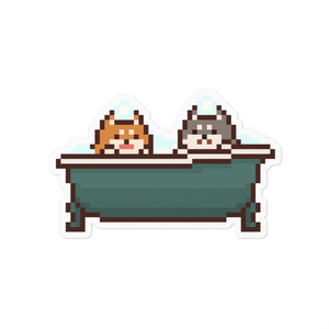 お風呂に入るいぬ ステッカー