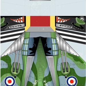 イギリス空軍戦闘機「ホーカーサイクロン」紙飛行機