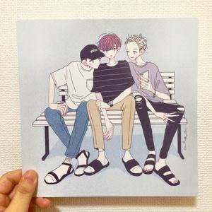 【イラストカード】座る3人組(男子バージョン)