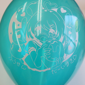 ゴム風船 風船大好きな女の子オリジナルイラスト 13インチ10個セット クリスタルカラー   バルーン