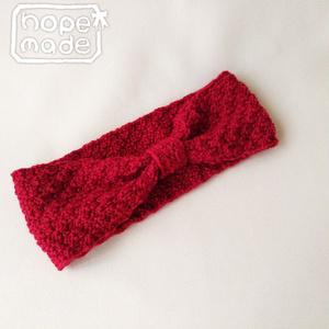 推し色選べる市松模様のニットヘアターバン*情熱の赤