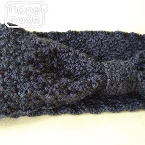 推し色選べる市松模様のニットヘアターバン*ワイルドな黒