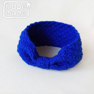 推し色選べる市松模様のニットヘアターバン*知性の青