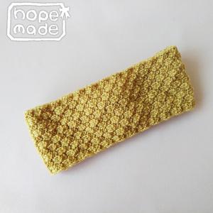 推し色選べる市松模様のニットヘアターバン*元気な黄