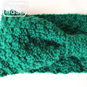 推し色選べる市松模様のニットヘアターバン*優しい緑