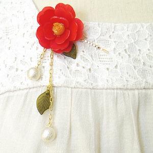 赤椿の簪風ヘアピン