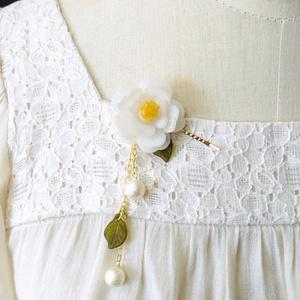 白椿の簪風ヘアピン