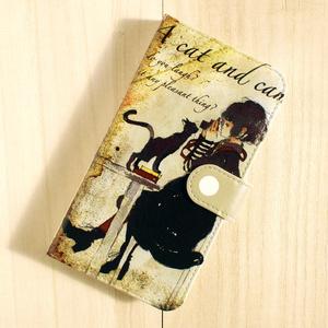 【iPhoneX】手帳型ケース/猫とカメラ