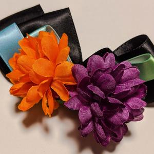 菊とリボンのバレッタ