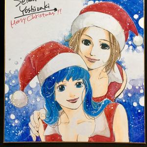 クリスマス直筆カラーイラスト色紙