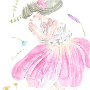 ドローイング「花の妖精-眠り-」