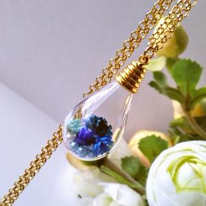 ティアドロップ型電球のフラワーネックレス【ブルー、グリーン、ピンク】