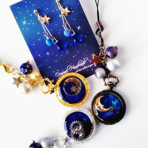 地球と星ピアス・イヤリングと宇宙イメージストラップセット