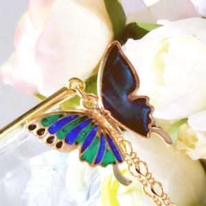 青緑蝶々の簪