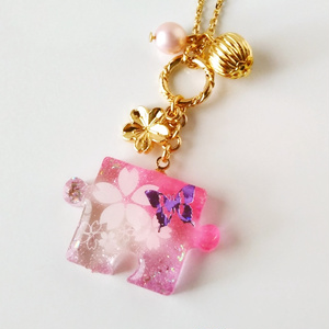 パズルピースネックレス・桜A