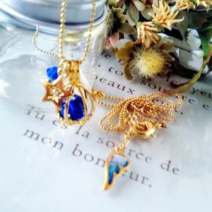 天使のたまごネックレス青・白・水色【ゴールド、シルバー】
