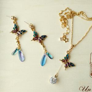 青紫蝶々のネックレス