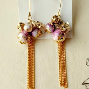 桜の和風ロングピアス・薄紫