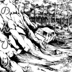 漫画素材 廃車のある背景 01