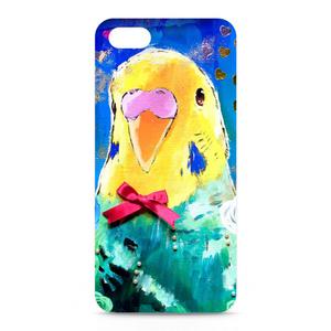 インコ iPhoneケース ブルー - iPhone5/SE/6/6s/7/Plus