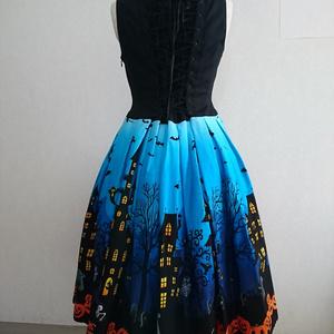 ハロウィン柄ジャンパースカート(青)