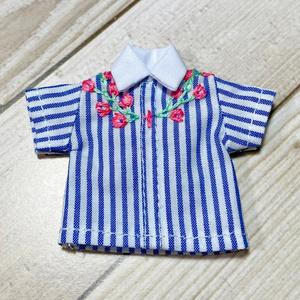 刺繍シャツ(ストライプ)