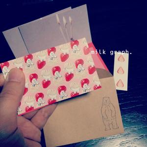 いちごクリームシロクマ 二つ折りメッセージカードセット(送料込)