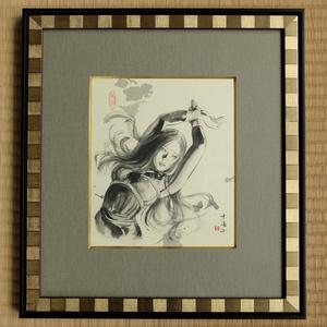 ツナマヨさんモデル墨絵原画「やはらかないきどまりⅠ」特注額装済み