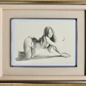 ツナマヨさんモデル墨絵原画「やはらかないきどまりⅢ」アマルフィの手漉き紙amartuda額装済み