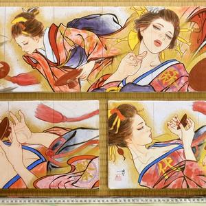 ノルウェー用壁画の準備用ミニチュア下絵 コピーコラージュ+手彩色 オリジナル 3枚セット限定1組