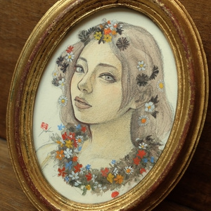 ボッティチェリの女神に扮したツナマヨさんの素描 イタリアンアンティーク額縁+アマルフィの手漉き紙、ゼッキの水彩絵具 オリジナル1点
