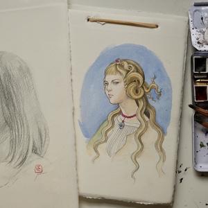カルロ・クリヴェッリの「マグダラのマリア」に扮した女性の素描 イタリアンアンティーク額縁+アマルフィの手漉き紙、ゼッキの水彩絵具 オリジナル1点