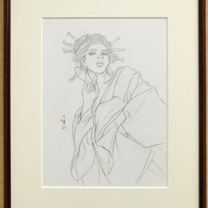ノルウェー用壁画のための下絵① 鉛筆線画直筆素描 オリジナル1点 ツナマヨさんモデル