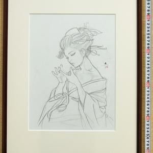 ノルウェー用壁画のための下絵③ 鉛筆線画直筆素描 オリジナル1点 ツナマヨさんモデル
