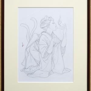 絵画「寝子」のための下絵 鉛筆線画直筆素描 オリジナル1点