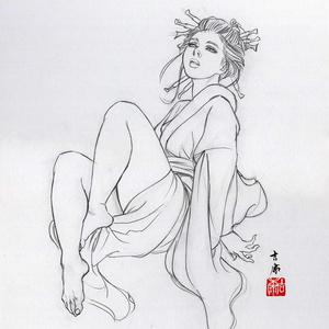 ノルウェー用壁画のための下絵④ 鉛筆線画直筆素描 オリジナル1点 ツナマヨさんモデル