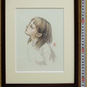 絵画「観月」のためのスケッチ 鉛筆水彩画直筆素描 オリジナル1点