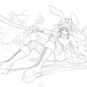 メディチ家でのライブペイント「兎兜」のためのスケッチ 鉛筆線画直筆素描 オリジナル1点
