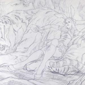 アングレーム国際漫画祭でのライブペイント「捨身飼虎図」のための下絵 鉛筆線画直筆素描 オリジナル1点
