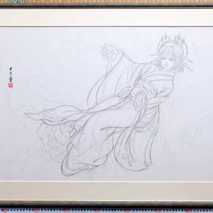 小林未郁さんCD「Mika Type ろ」ジャケット原画「絡新婦」のための下絵 鉛筆線画直筆素描 オリジナル1点