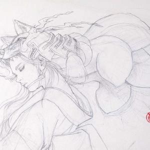 絵画「天狐Ⅱ」のための下絵 鉛筆線画直筆素描 オリジナル1点