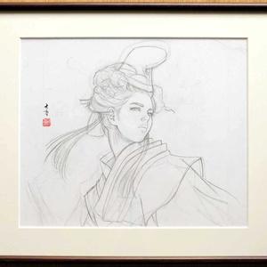 絵画「静御前Ⅰ」のための下絵 鉛筆線画直筆素描 オリジナル1点
