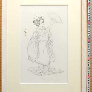 絵画「鷹の舞」のための下絵 鉛筆線画直筆素描 オリジナル1点