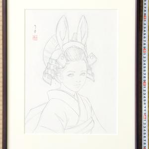 絵画「兎兜Ⅱ」のための下絵 鉛筆線画直筆素描 オリジナル1点